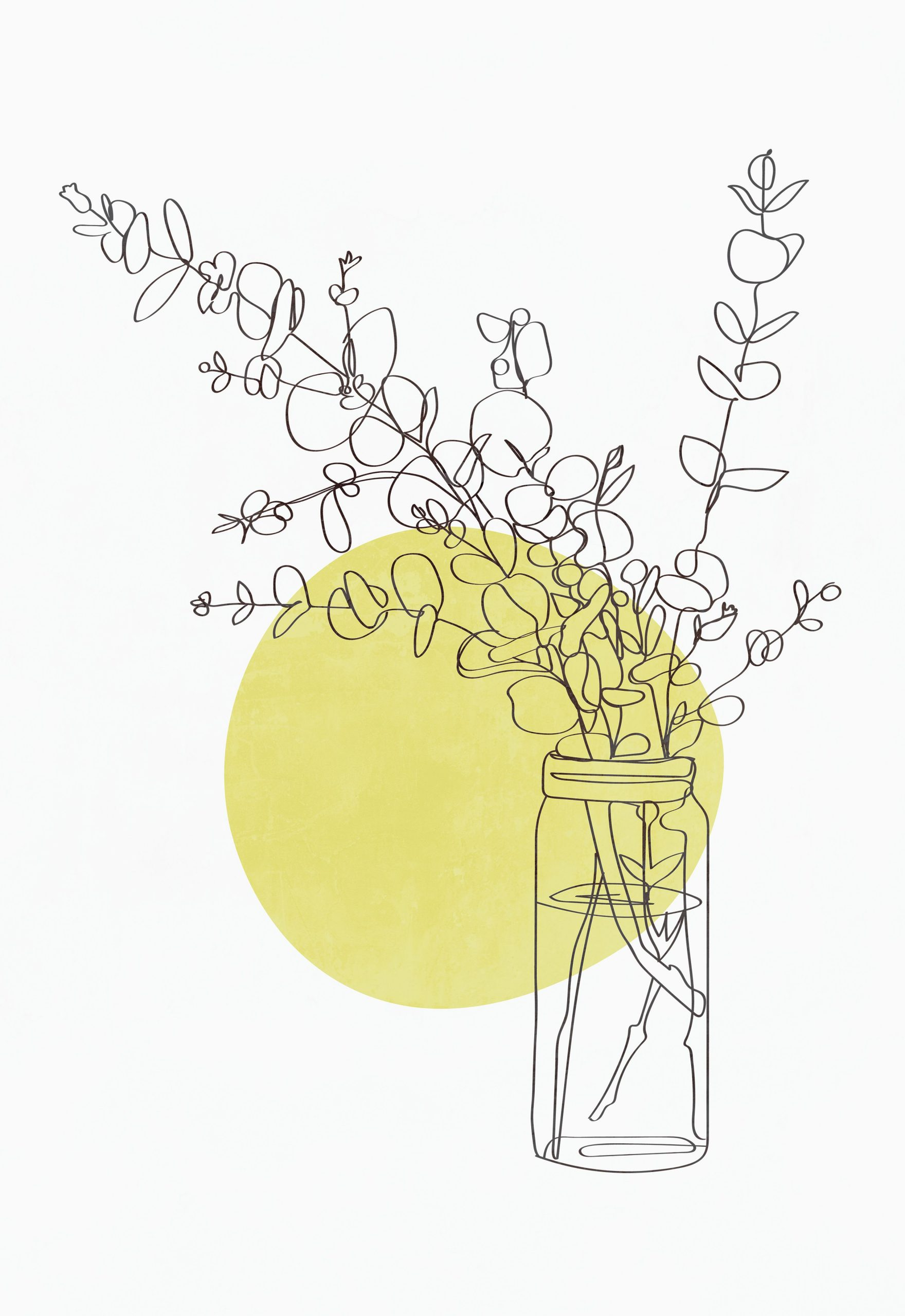 Modern minimalist line drawing eucalyptus print